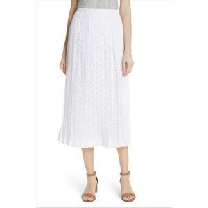 Tory Burch Carine Pleated Eyelet Midi Skirt 4